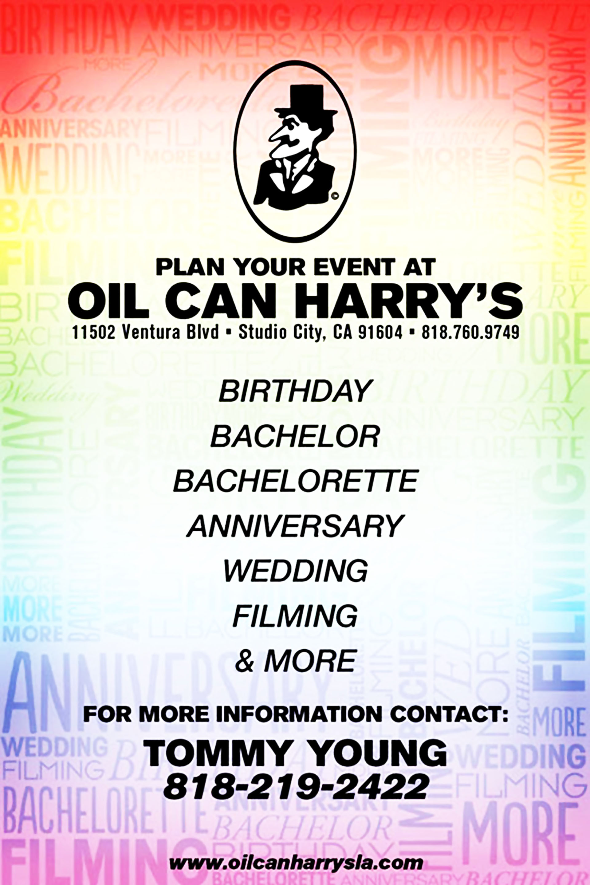 Plan Your Events at Oil Can Harry's
