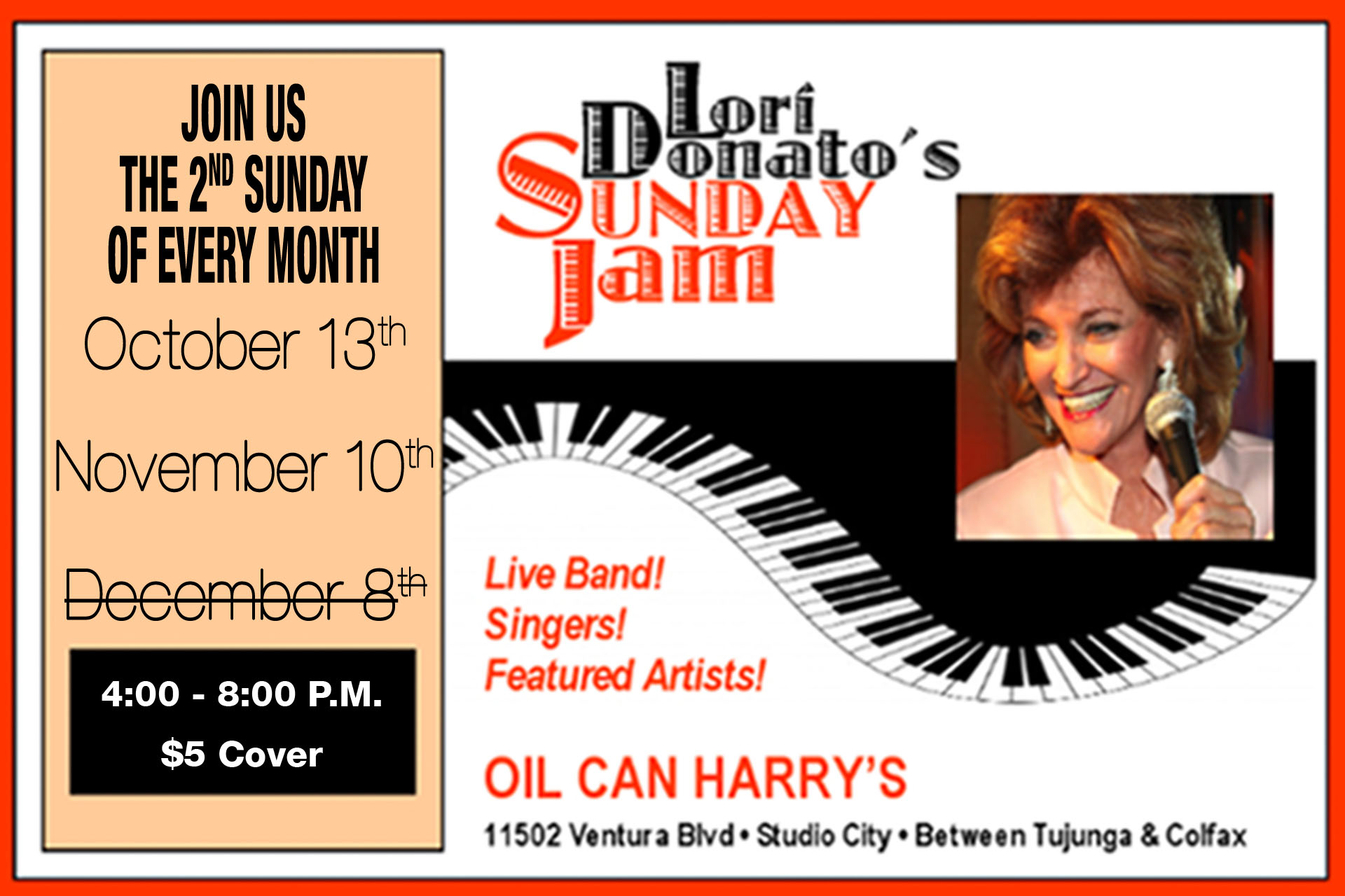 Oil Can Harry's Presents Lori Donato's Sunday Jam! Now the 2nd Sunday of every month! October 13th, November 10th & December 8th, 2019! 4:00 to 8:00 PM. $5 cover.