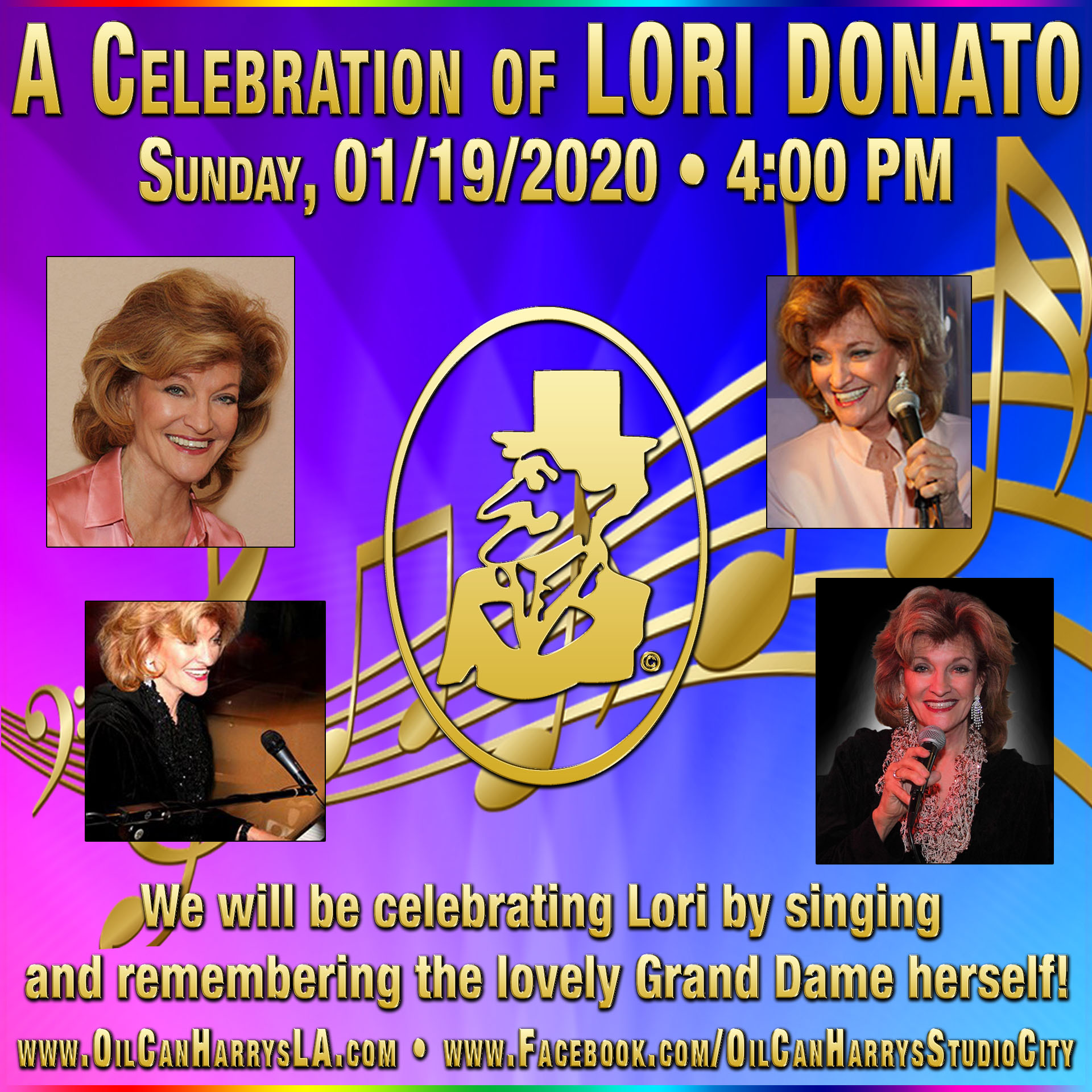 Oil Can Harry's Hosts A Celebration of LORI DONATO: Sunday, January 19, 2020 beginning at 4:00 PM! Come and sing and share your memories of The Grand Dame Herself...