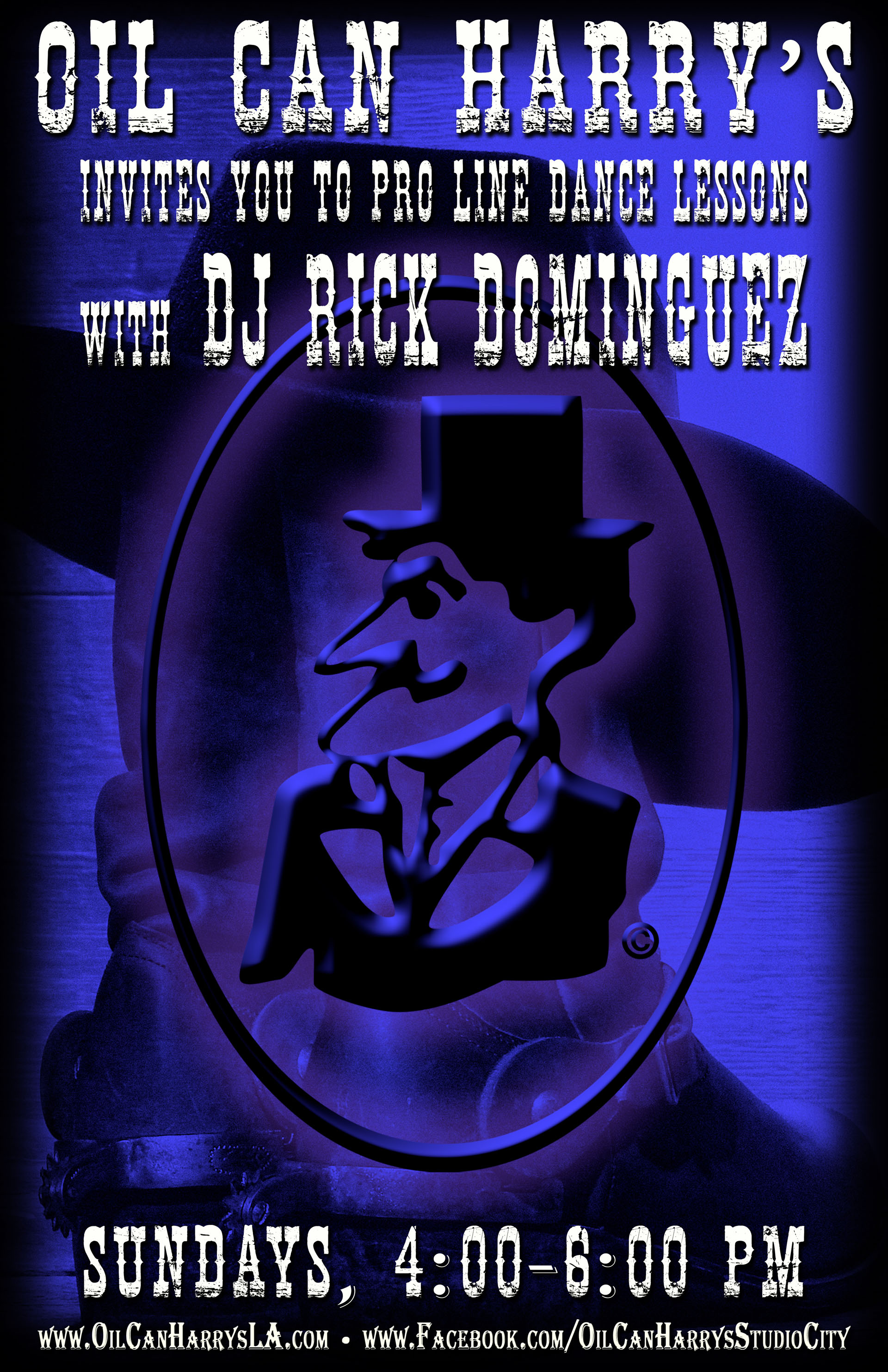 Oil Can Harry's invites you to Pro Line Dance Lessons with DJ RICK DOMINGUEZ! Sundays from 4:00-6:00 PM.