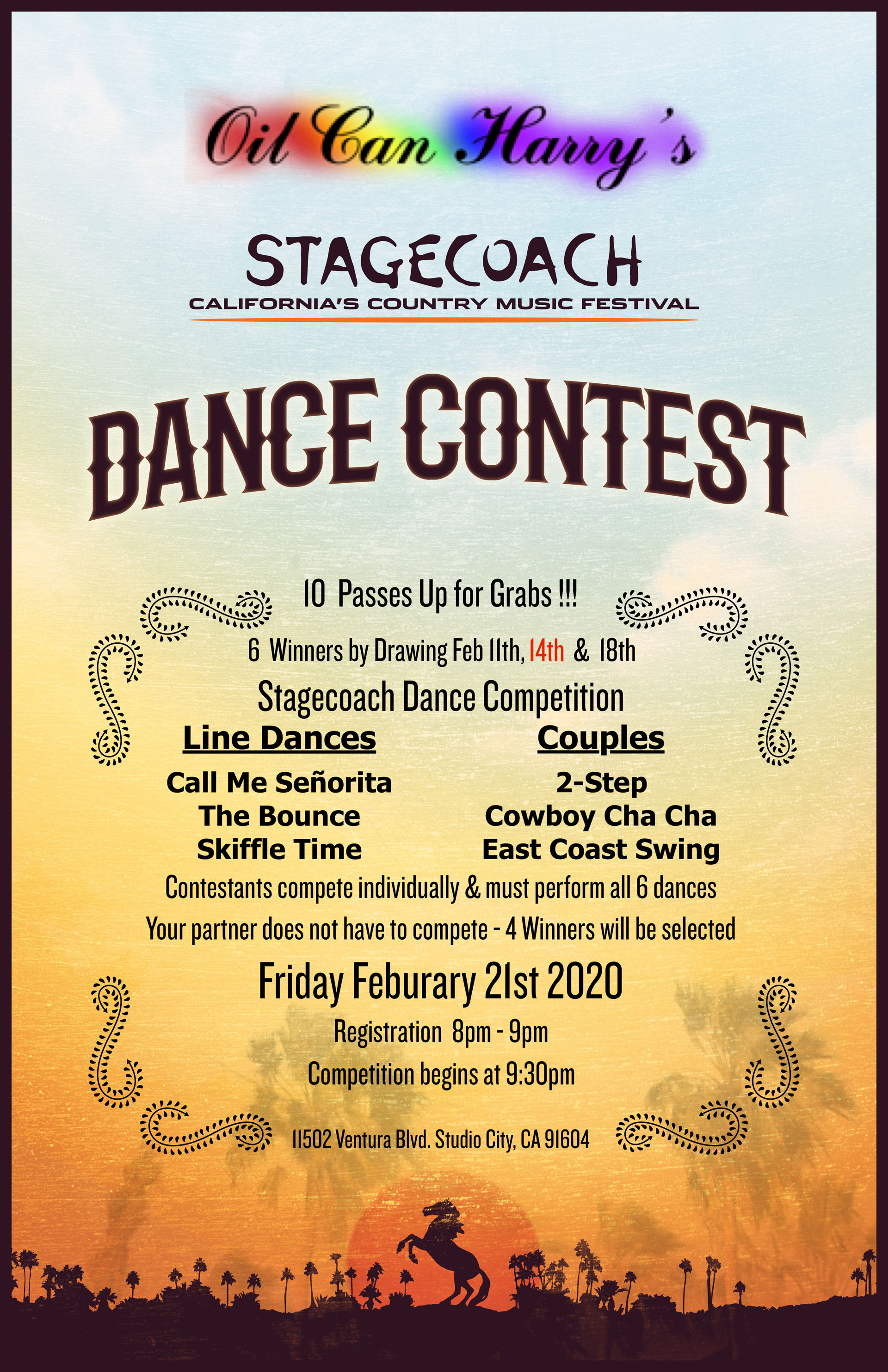 STAGECOACH DANCE COMPETITION at OIL CAN HARRY'S: Friday, February 21, 2020