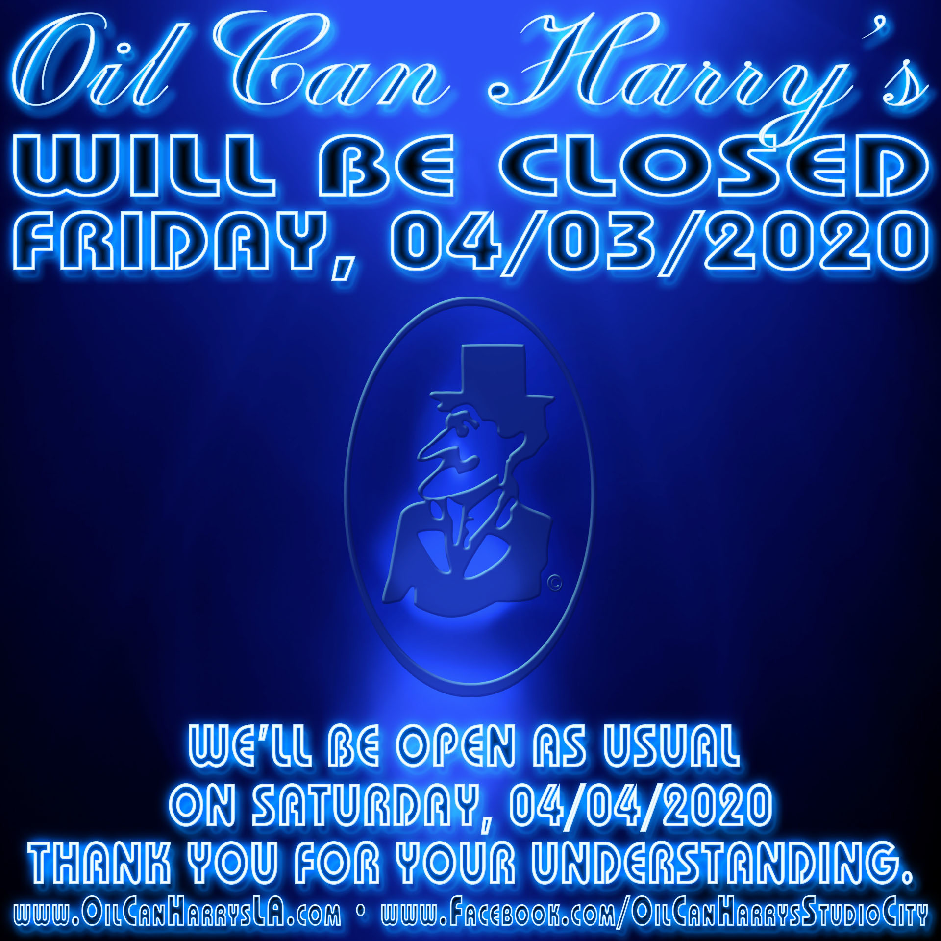 Oil Can Harry's will be closed on Friday, 04/03/2020. We'll be open as usual on Saturday, 04/04/2020. Thank you for your understanding.